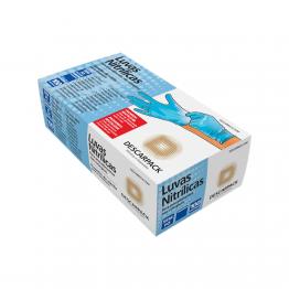 Luva Nitrilica M Descarpack C/100 Azul S/po