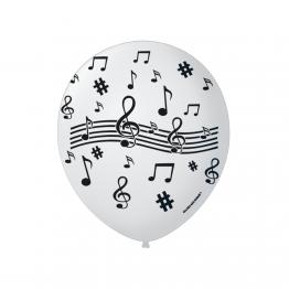 Balao 9 Temas Notas Musicais C/25 Branco C/preto