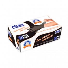 Luva Nitrilica M Medix C/100 Preta S/po