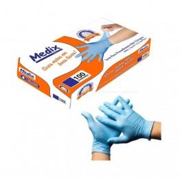 Luva Nitrilica M Medix C/100 Azul S/po